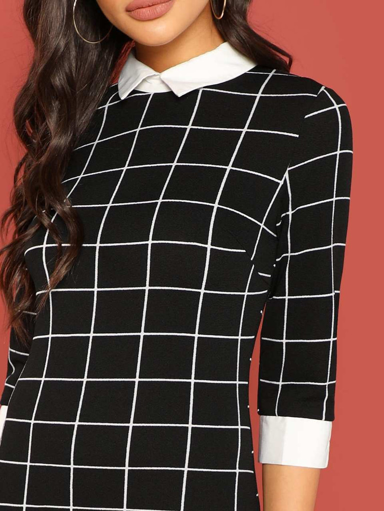 Contrast Collar and Cuff Grid Dress
