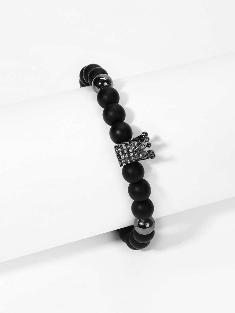 Men Crown Decor Beaded Bracelet