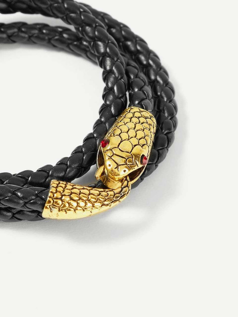 Men Snake Shaped Layered Bracelet