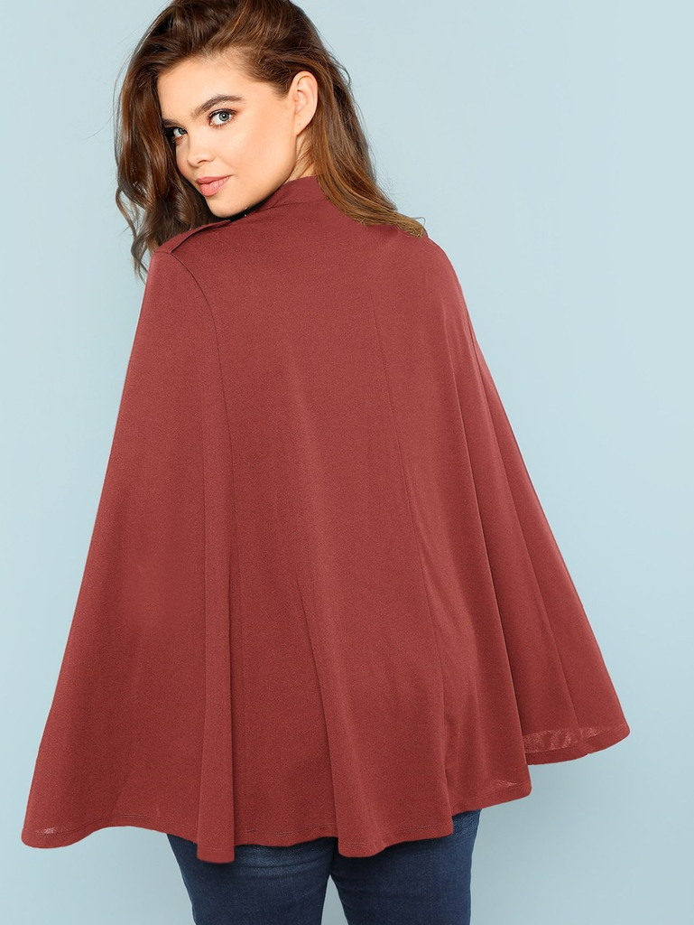 Plus Double Breasted Solid Cape Coat