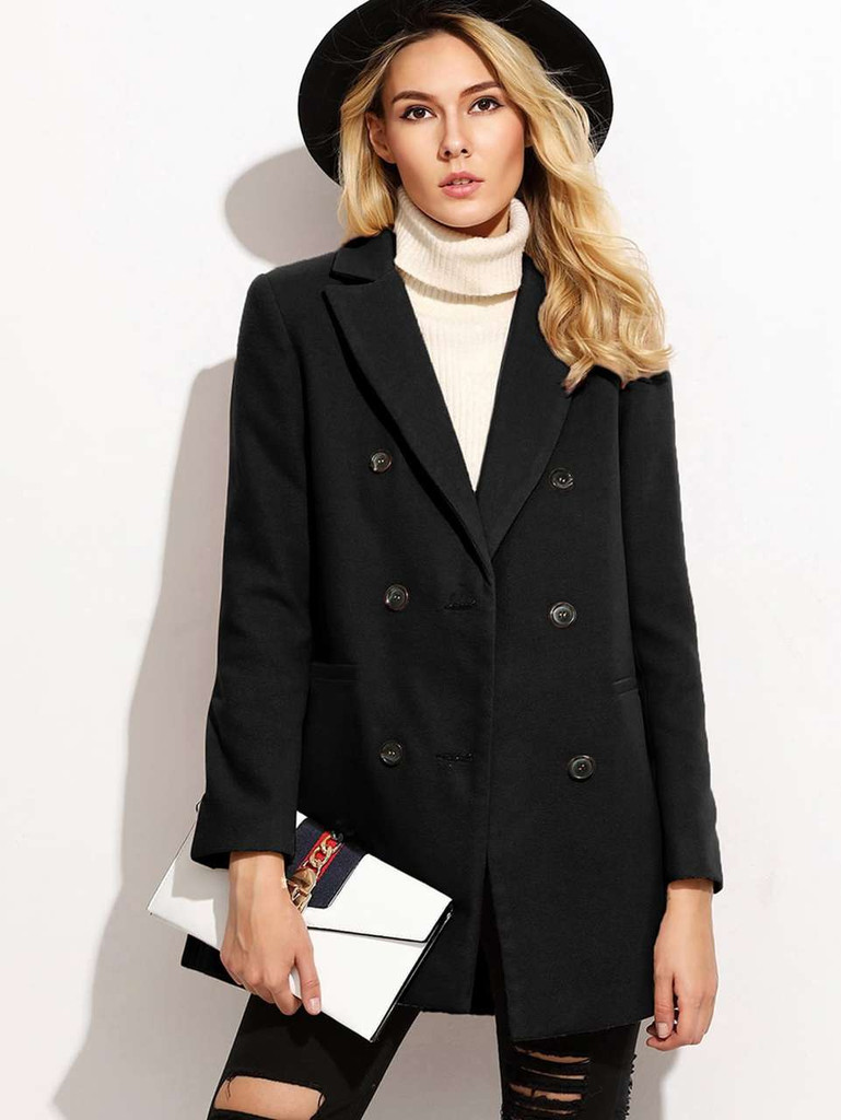 Double Breasted Notch Collar Coat