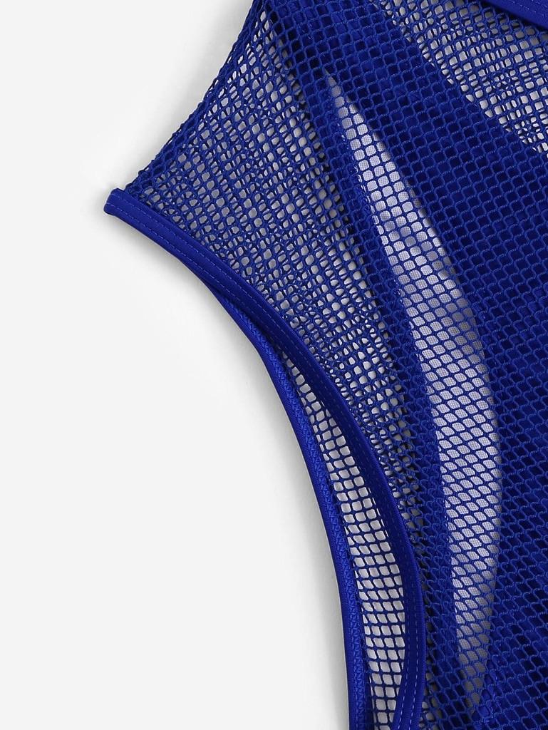 2f8de9f063 Off the Shoulder Fishnet Overlay Bikini Set 4pack - Blue - booboo ...