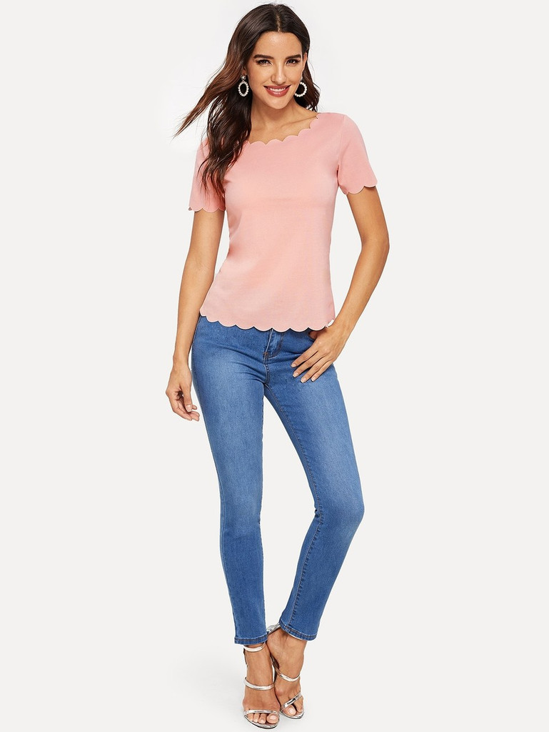 Scallop Edge Top - Pink