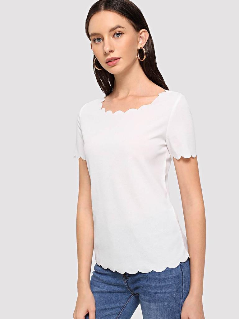 Scallop Edge Top - White