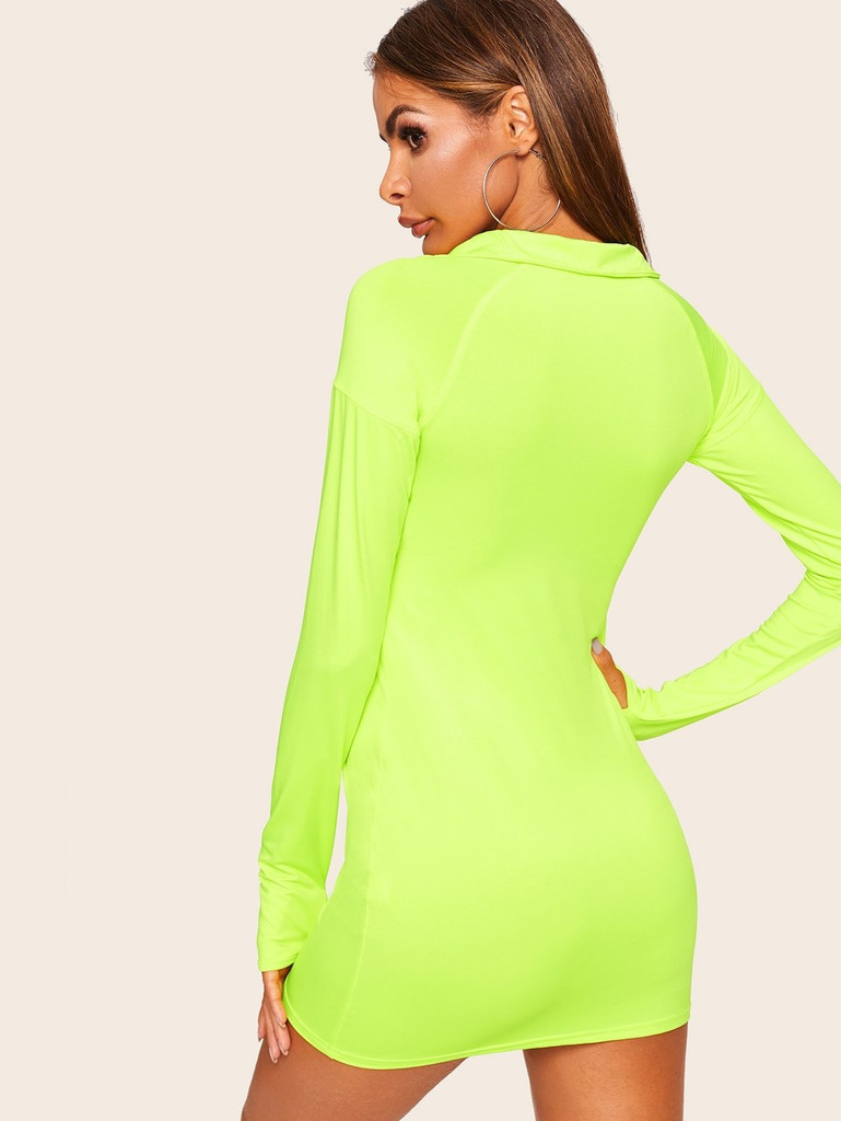 Neon Lime Quarter Zip Bodycon Dress With Thumb Holes