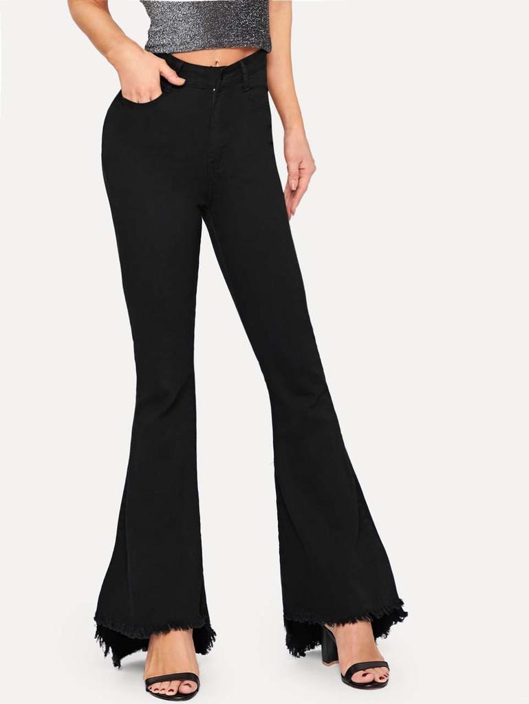 Raw Hem Flare Leg Jeans