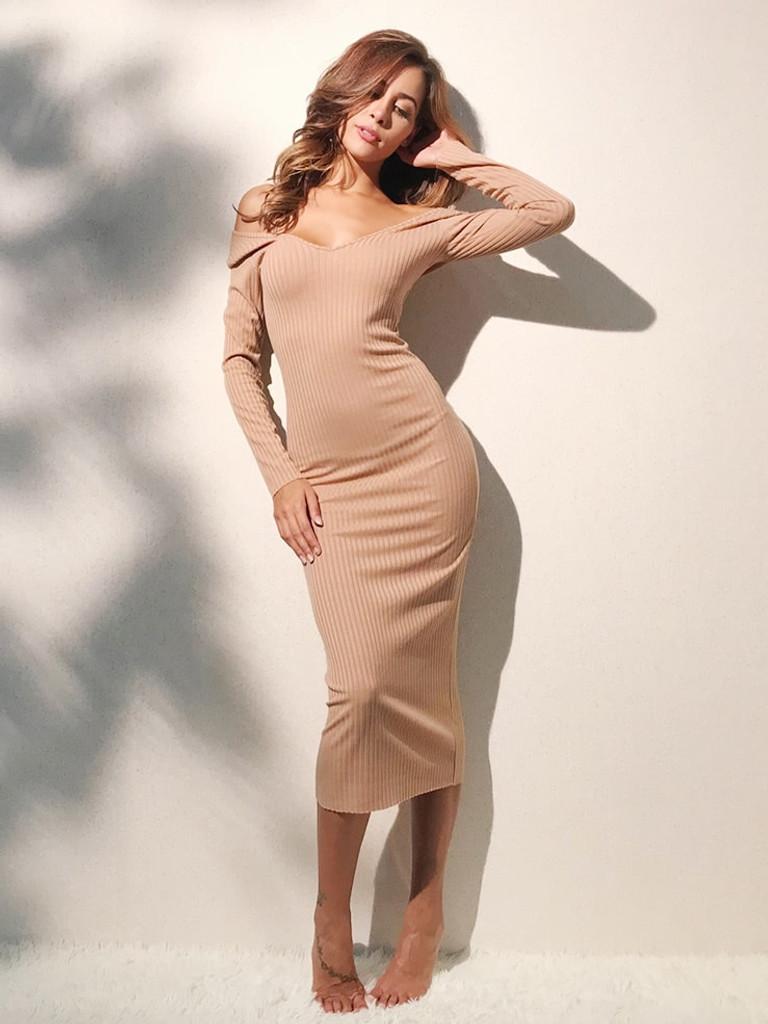 de5710b2bc20 Off Shoulder Ribbed Dress - Khaki