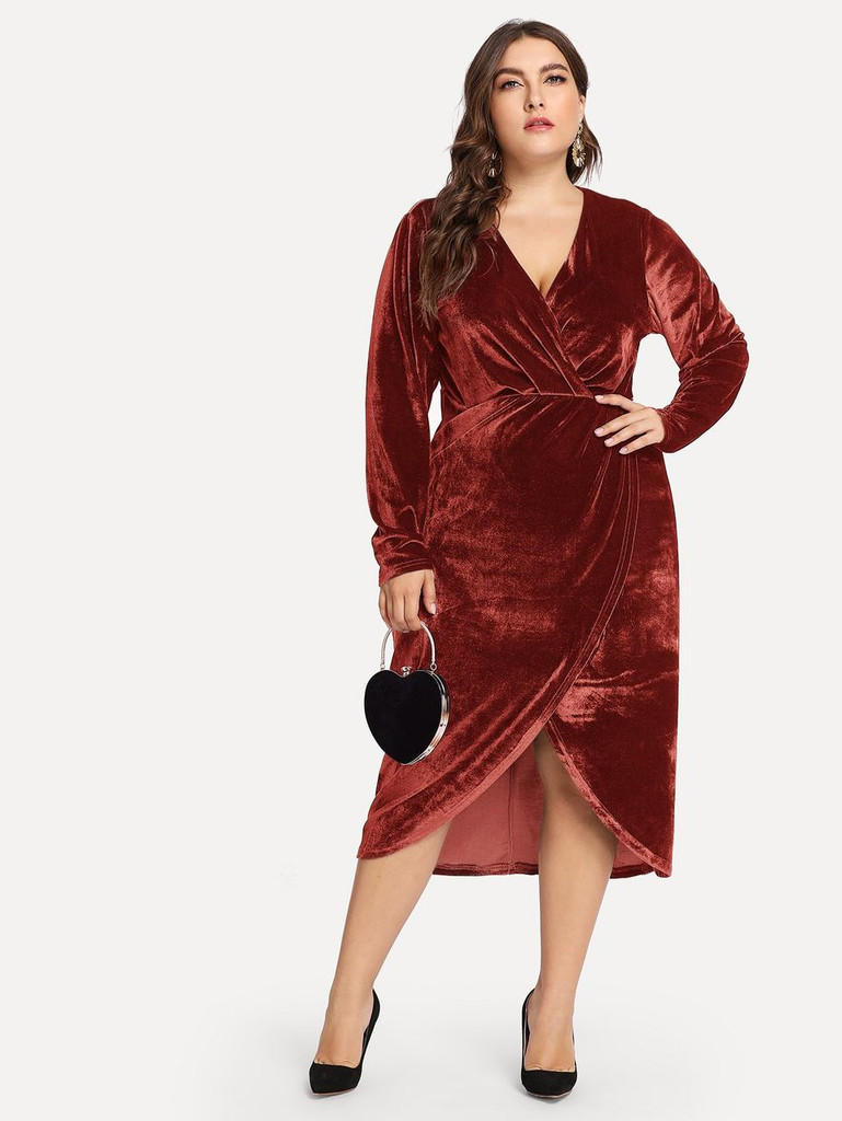 Plus Plunge Neck Wrap Velvet Dress Rust Booboo London Com