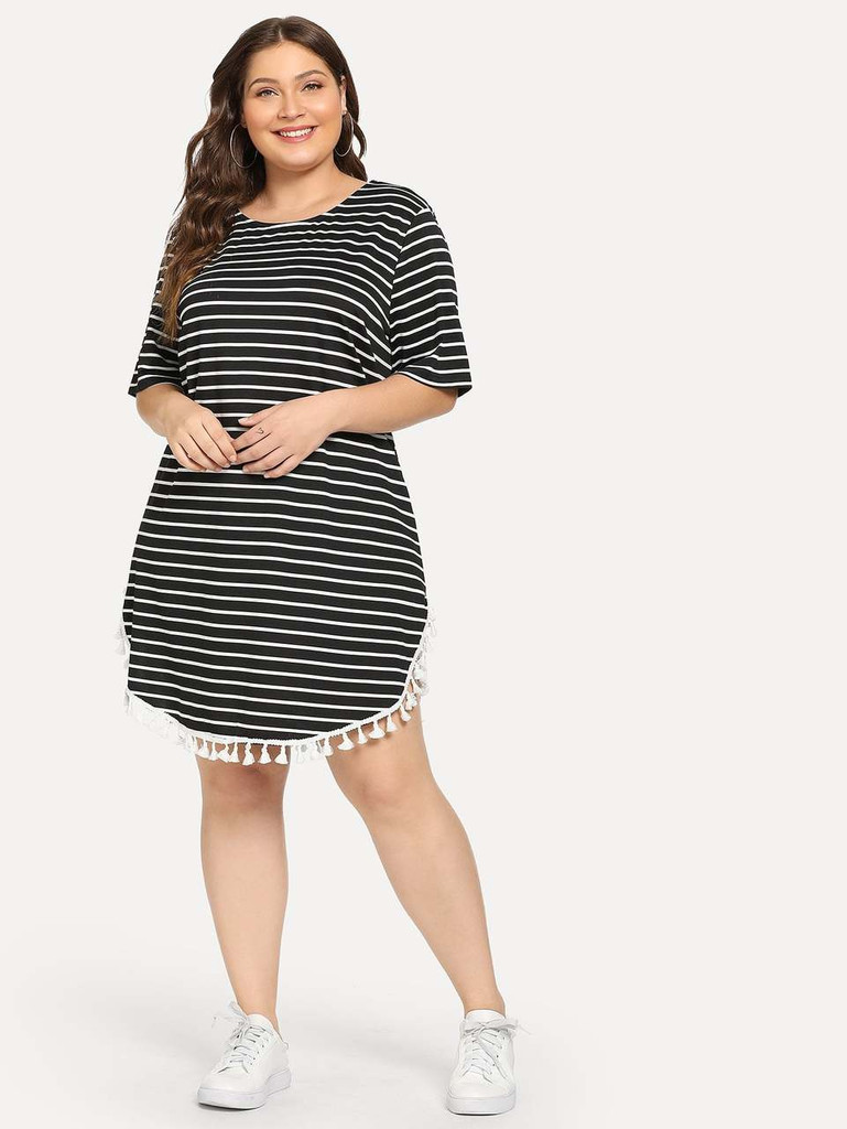 Plus Tassel Embellished Curved Hem Striped Dress - Black and White