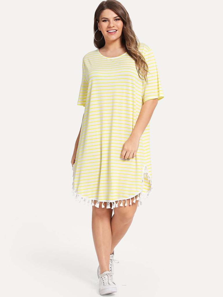 Plus Tassel Embellished Curved Hem Striped Dress - Yellow