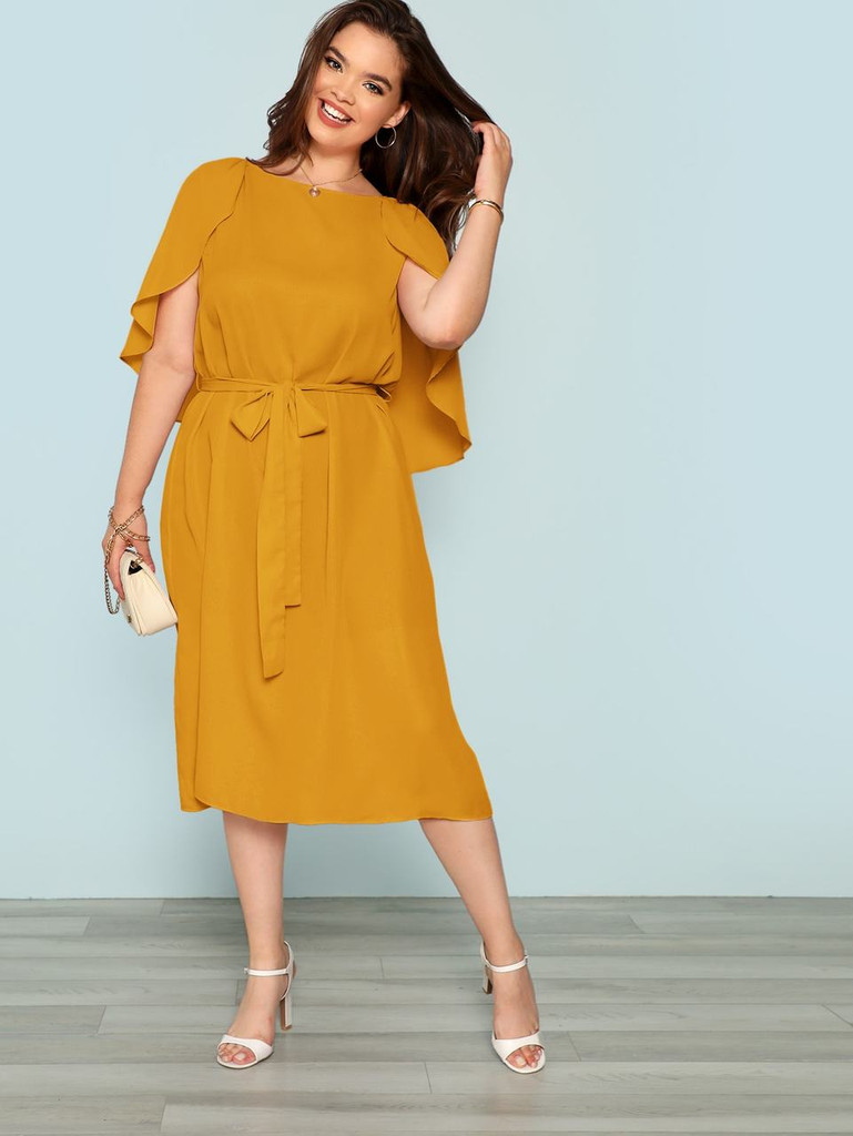 Plus Cape Sleeve Belted Dress