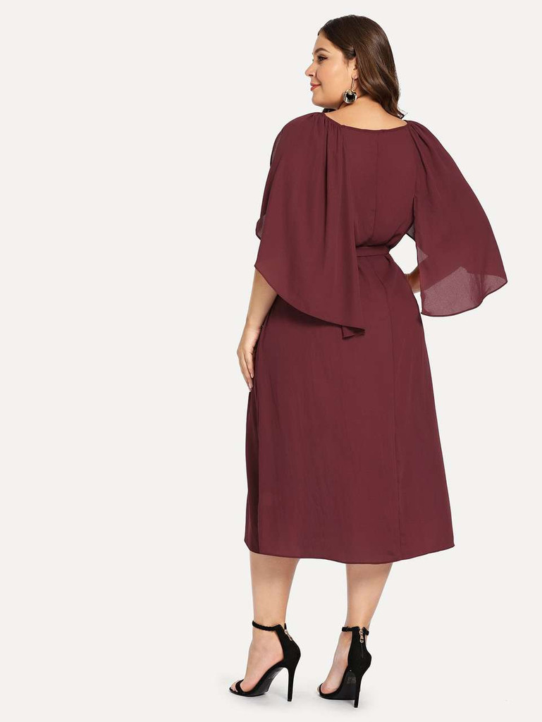 Plus Cape Sleeve Belted Dress - Burgundy