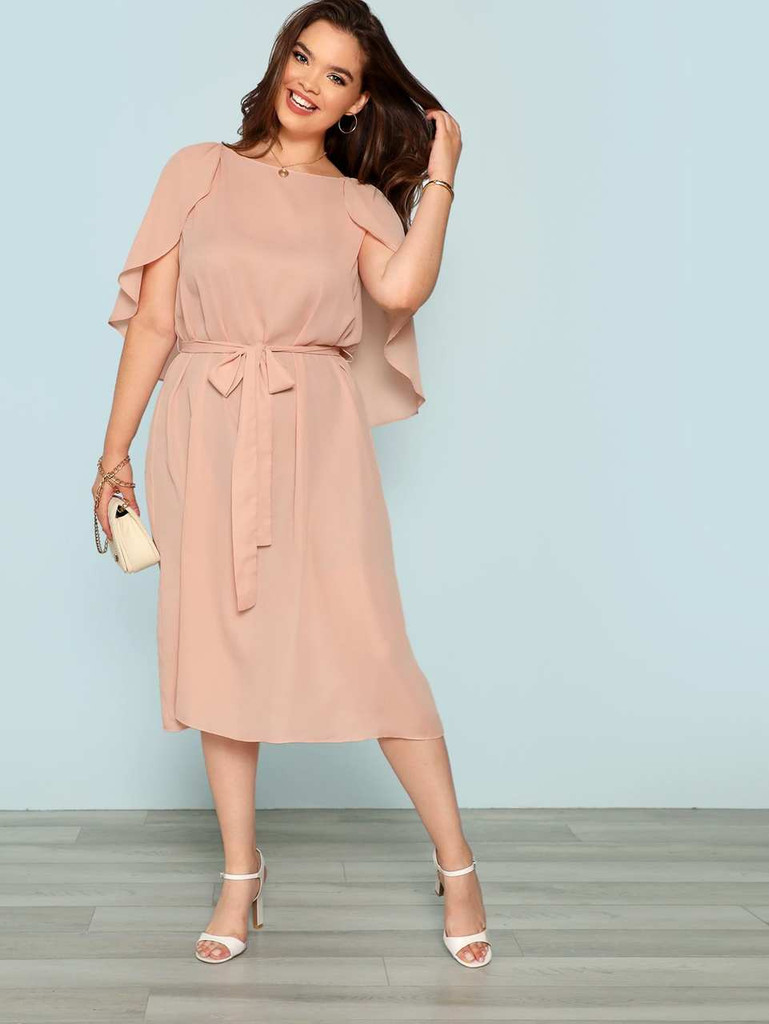 Plus Cape Sleeve Belted Dress - Pink
