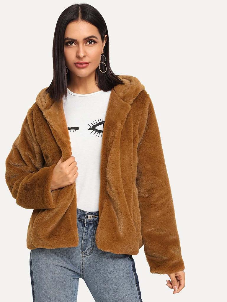 Solid Teddy Hooded Coat