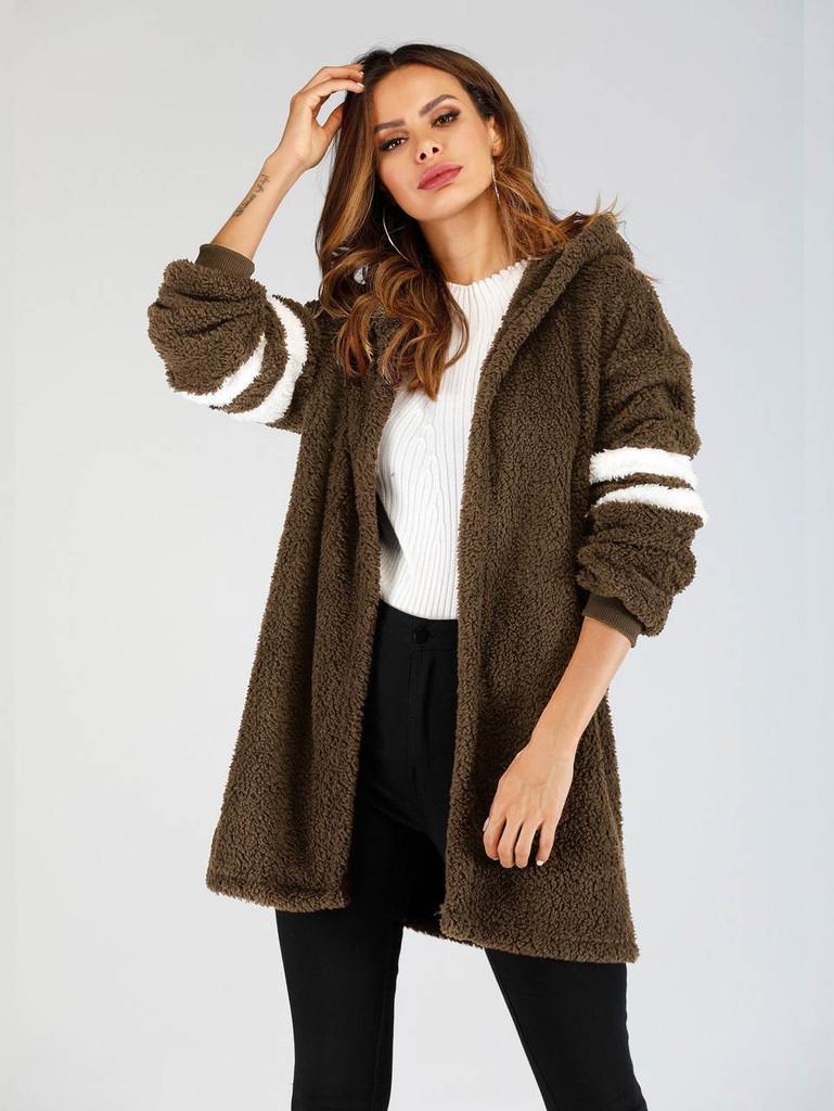 Varsity Sleeve Hooded Teddy Coat