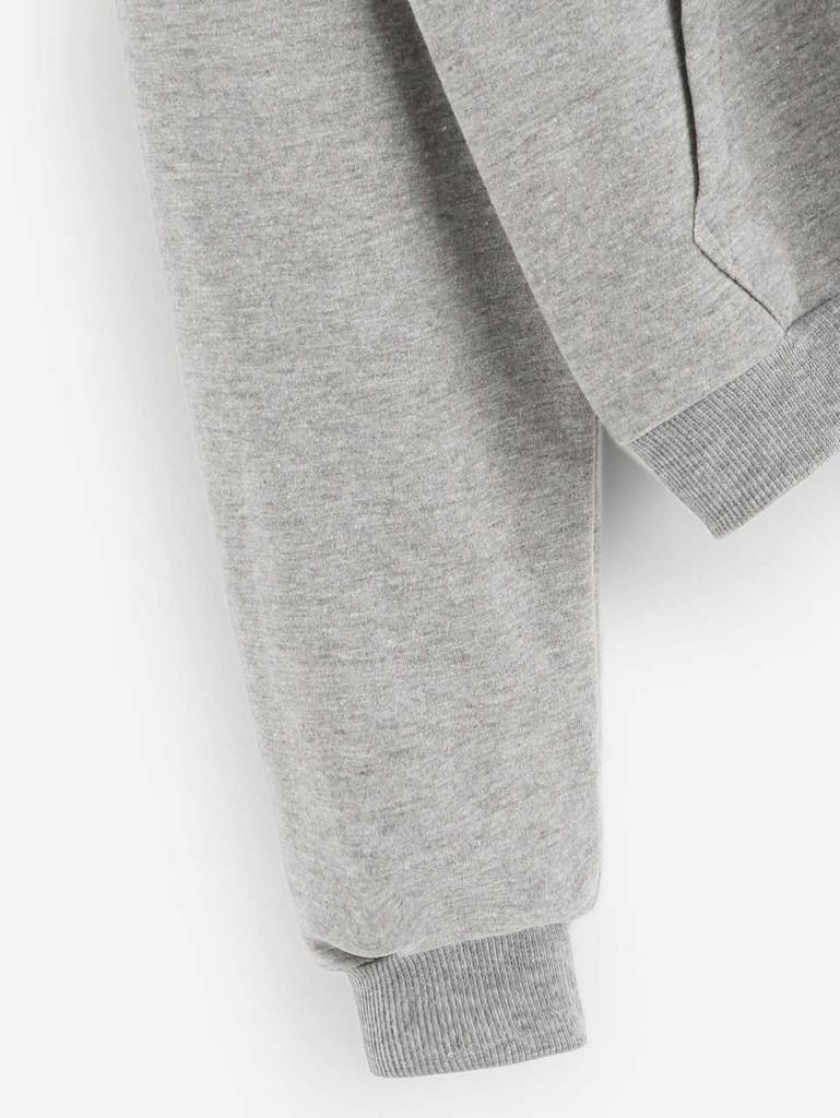Drawstring Kangaroo Pocket Hooded Sweatshirt