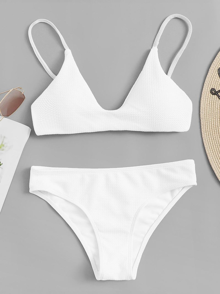 2676b20d85b95 Solid Spaghetti Strap Bikini Set Click here to enlarge