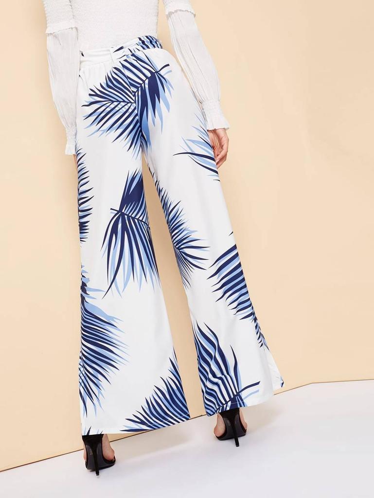 Plants Print Wide Leg Pants