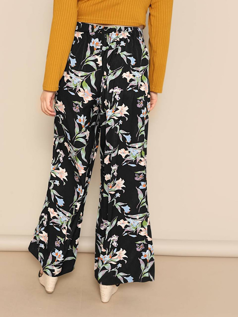 c682925b89 Plus Knot Front Botanical Print Wide Leg Pants Click here to enlarge