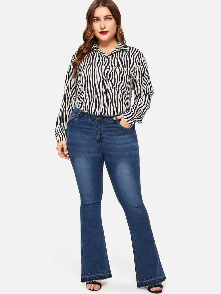Plus Raw Hem Flare Leg Jeans
