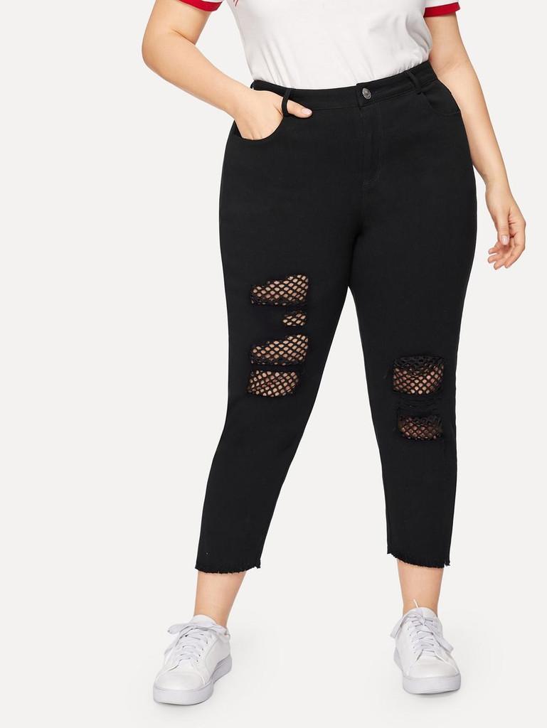 Plus Fishnet Panel Raw Hem Jeans