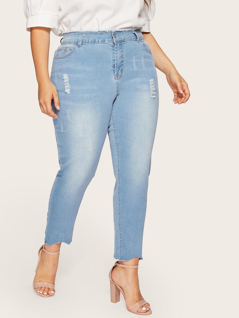 Plus Asymmetrical Hem Ripped Jeans