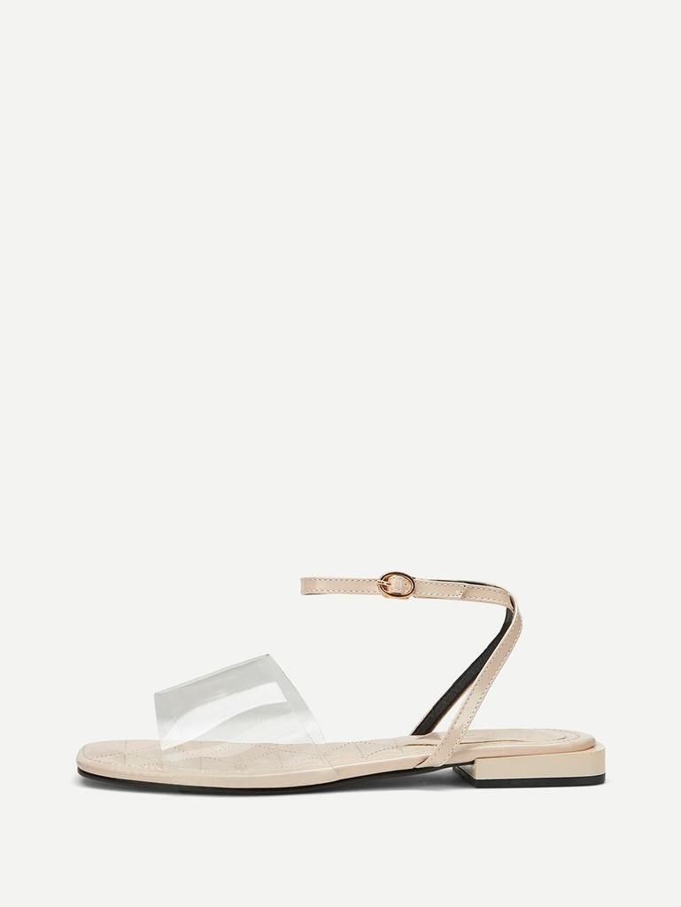 Transparent Flat Sandals - Apricot