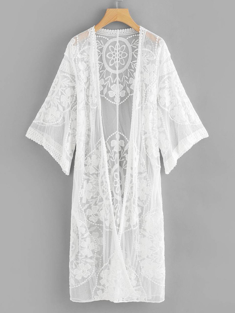 Lace Sheer Mesh Kimono