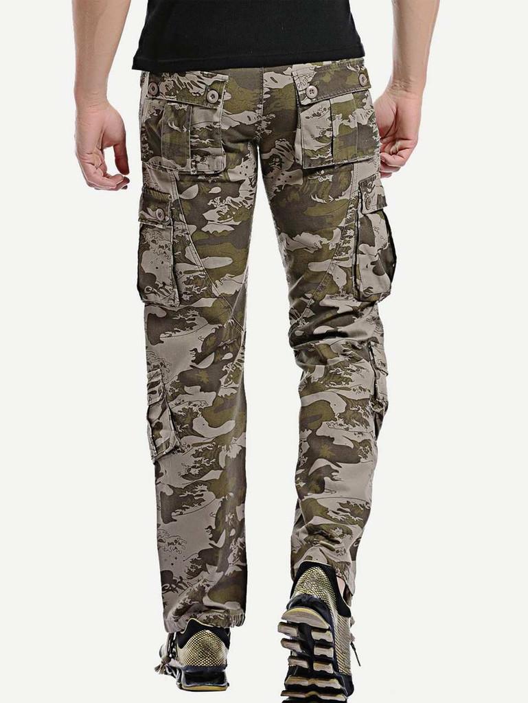 Men Pocket Detail Camo Print Pants - c5518738
