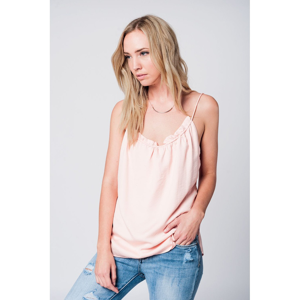 Pink top with open back detail