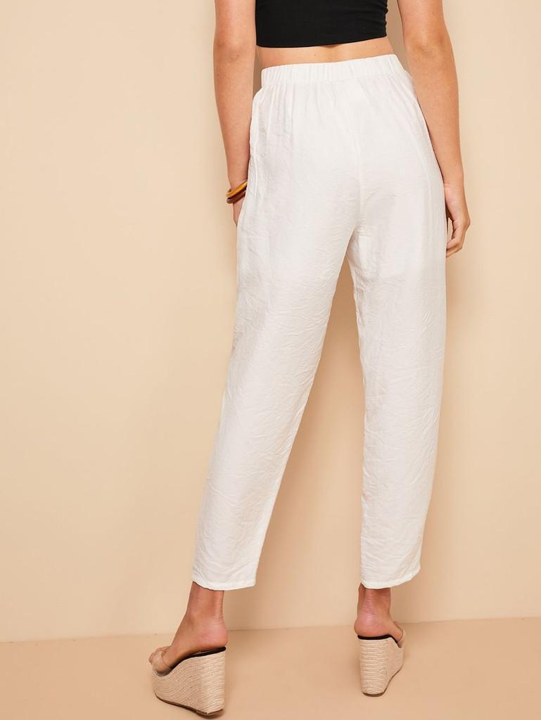 Pocket Side Elastic Waist Crinkle Pants