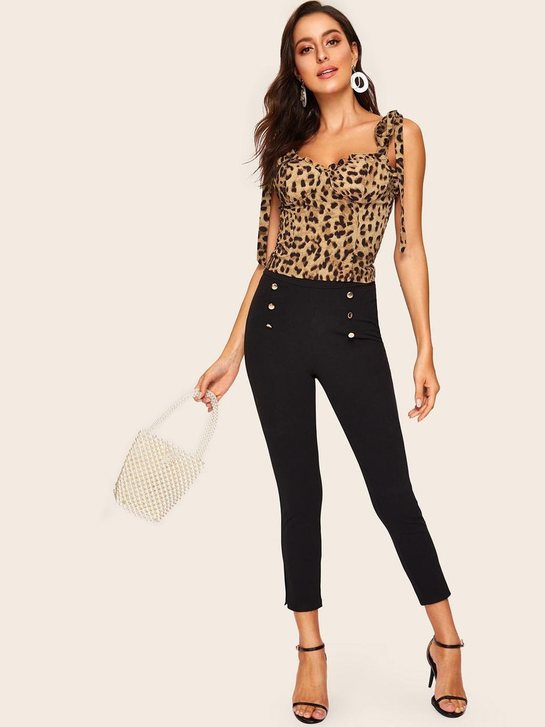 Leopard Print Shirred Back Bodice Cami With Knot Strap