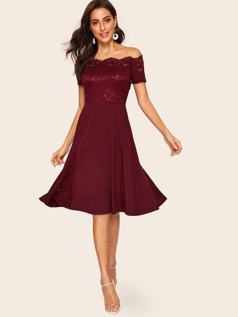 60s Off Shoulder Lace Insert Fit & Flare Dress