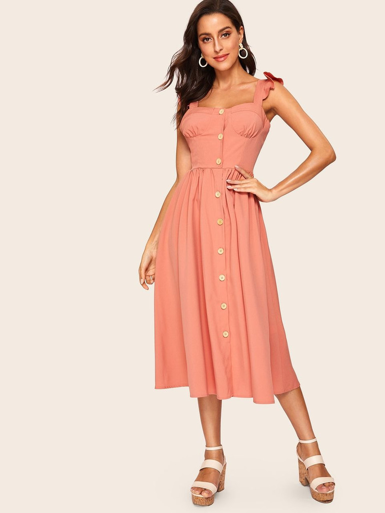 60s Button Front Ruffle Strap Fit & Flare Dress