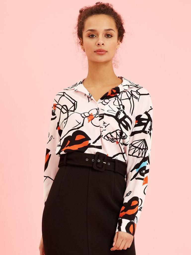Graffiti Button Front Shirt