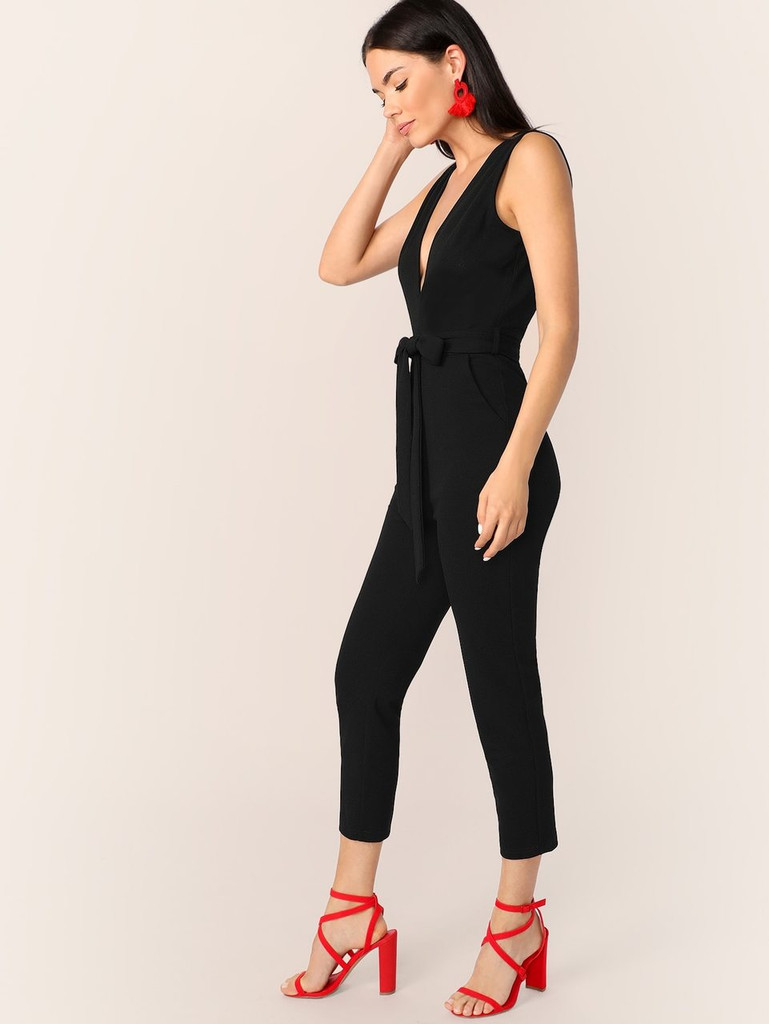 Backless Plunging Neck Belted Overalls