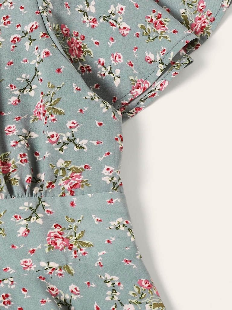 Ditsy Floral Print Button Up Dress