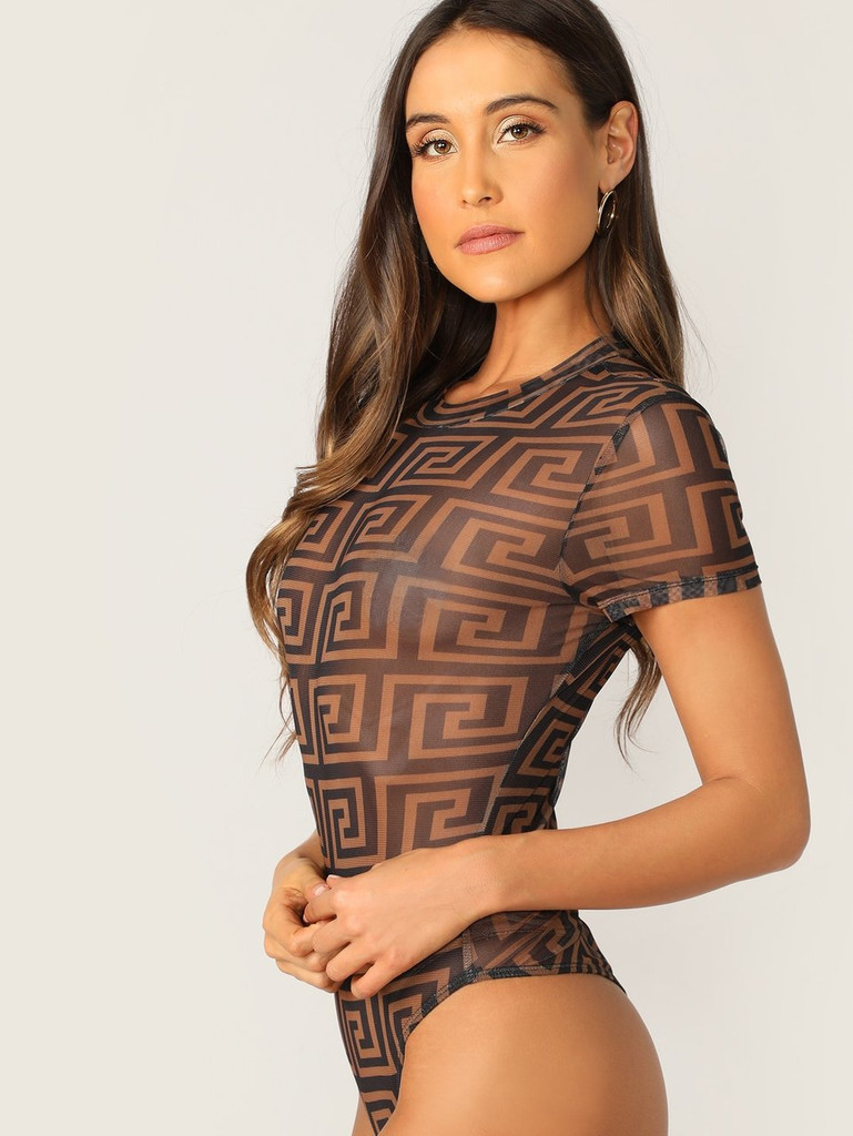 Greek Fret Print Sheer Skinny Bodysuit