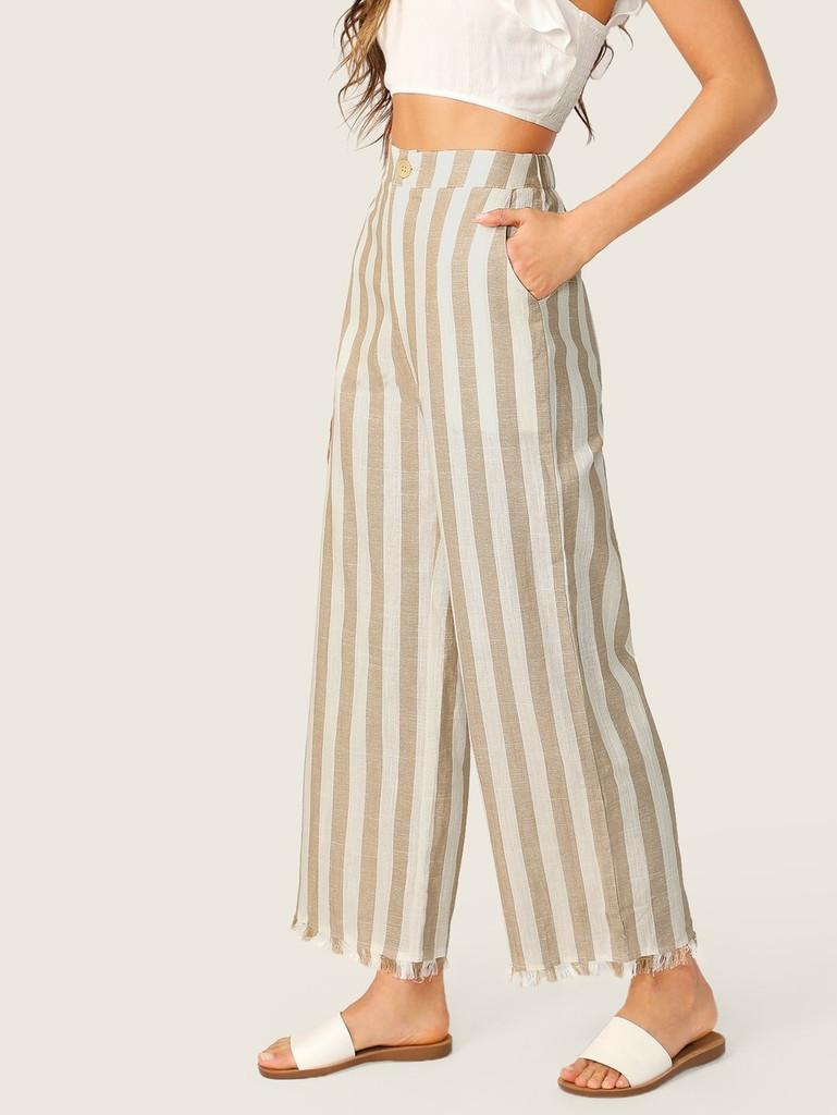 Buttoned Front Raw Hem Wide Leg Striped Pants