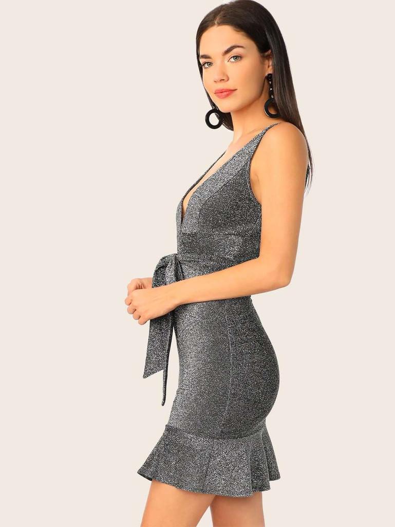 Plunging Neck Belted Pep Hem Glitter Cami Dress