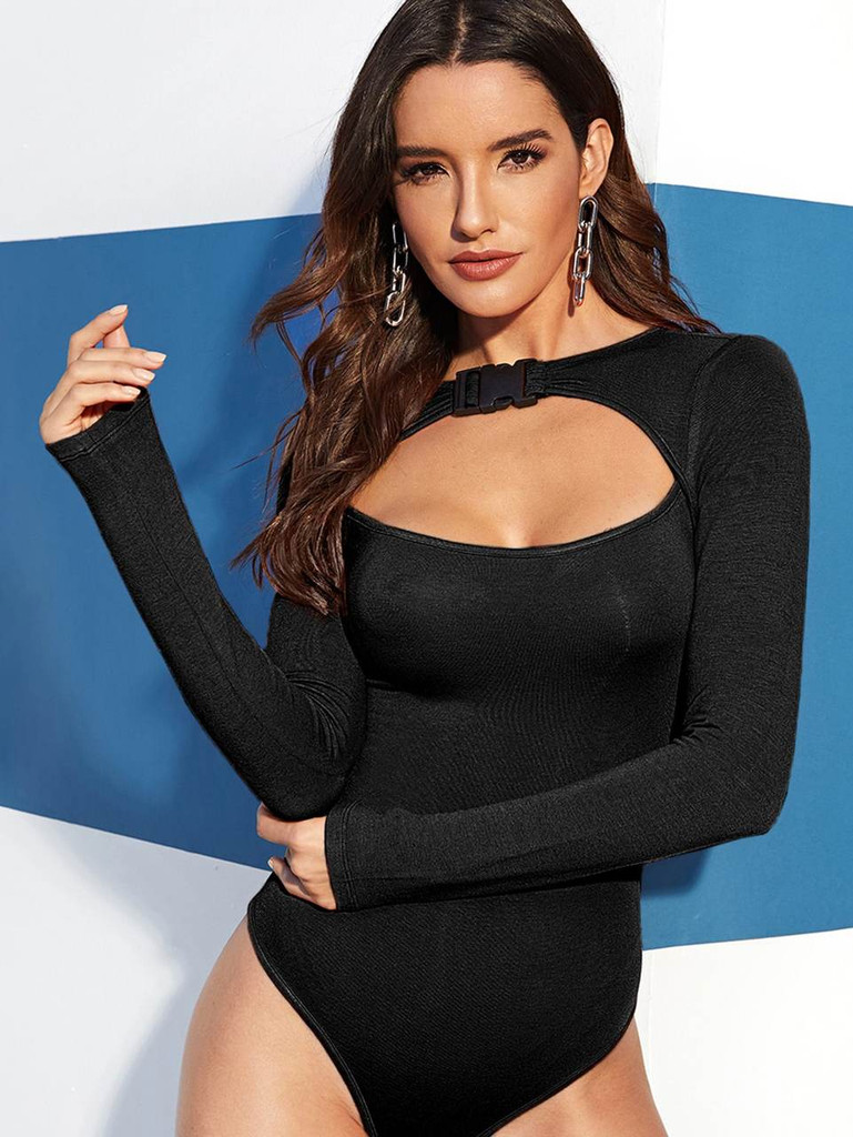 Push Buckle Cut Out Front Bodysuit - 8e113f73