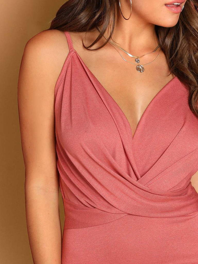 Plunging Neck Cross Wrap Cami Bodysuit