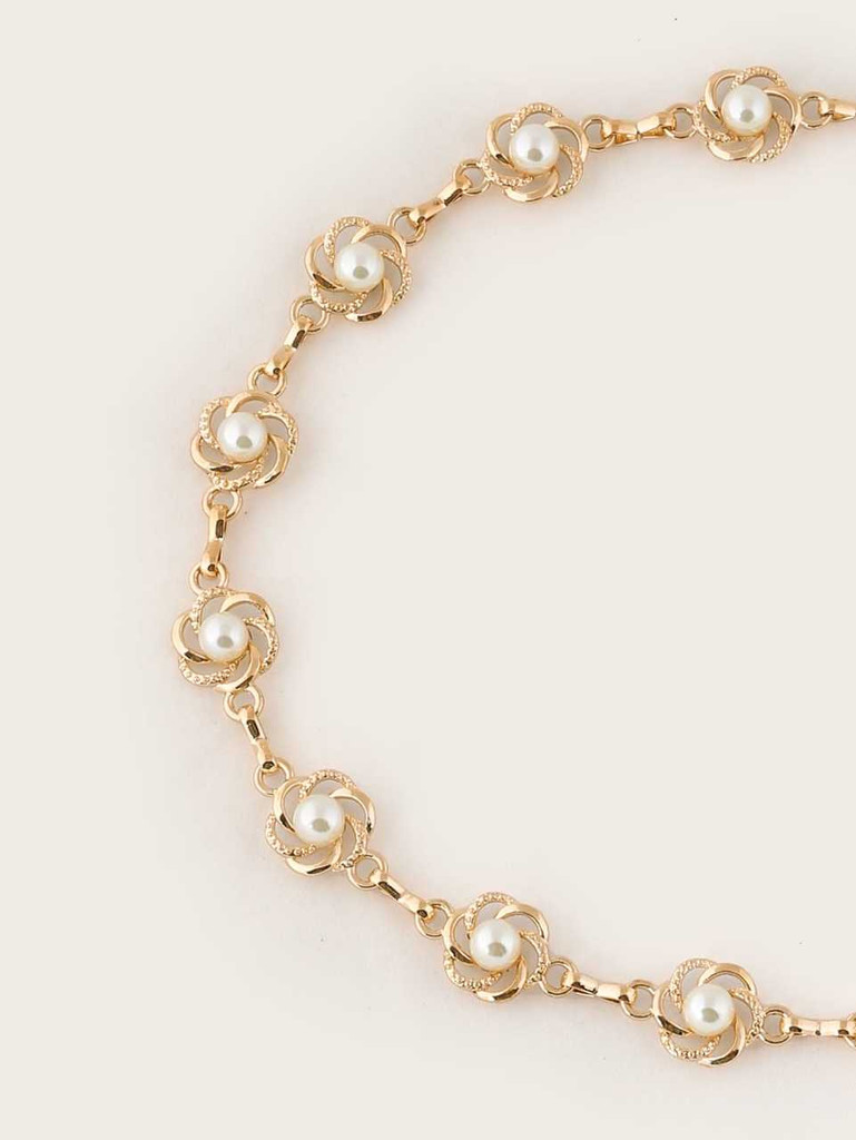 Faux Pearl Embellished Chain Belt