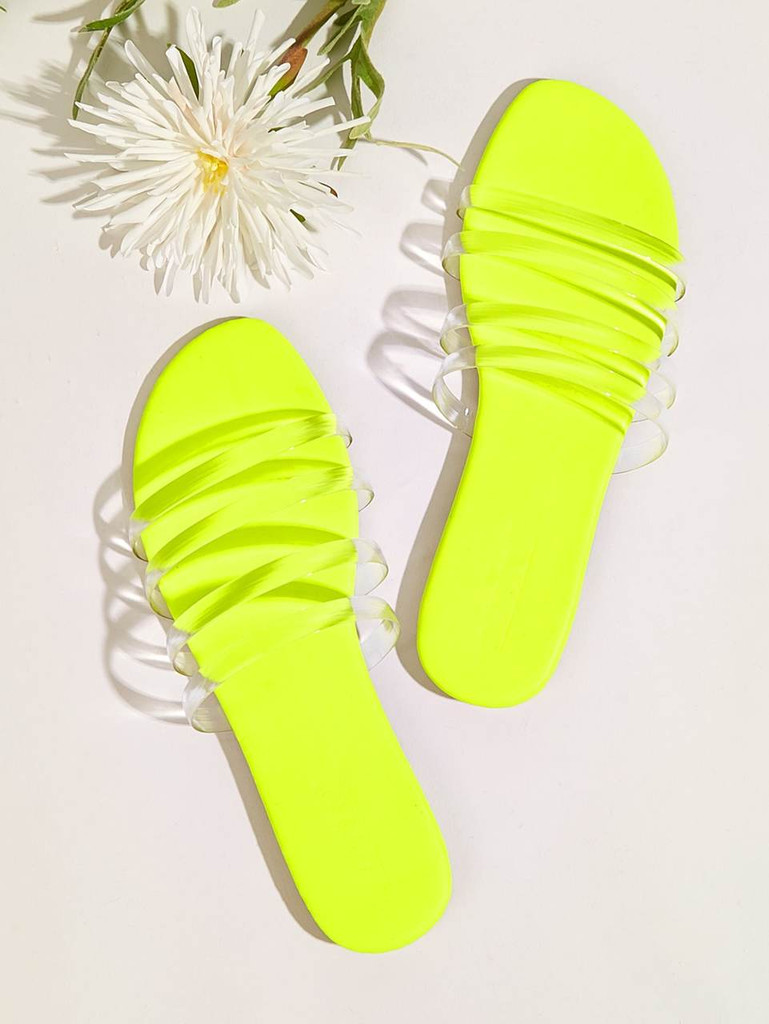 Neon Strappy Flat Slippers