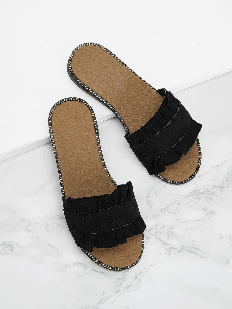 Ruffle Suede Flat Slippers