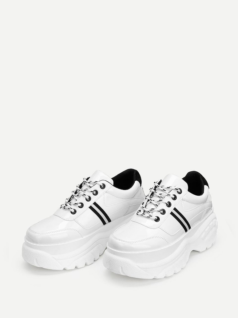 Lace-up Chunky Sneakers - White