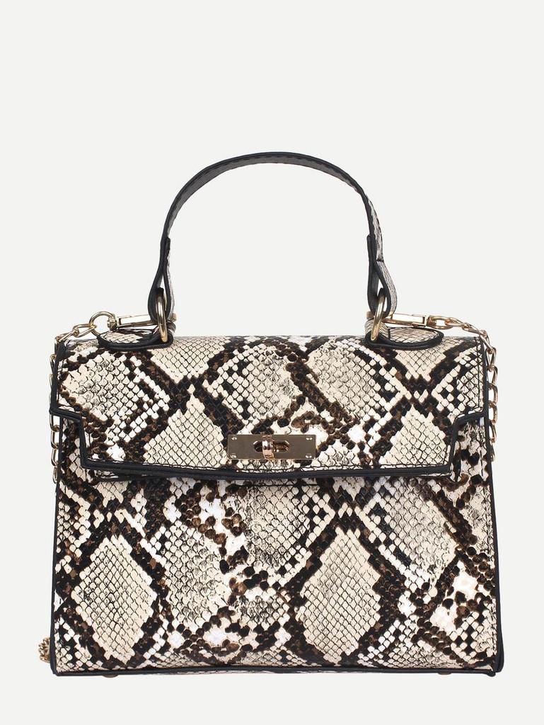 Snakeskin PU Satchel Bag