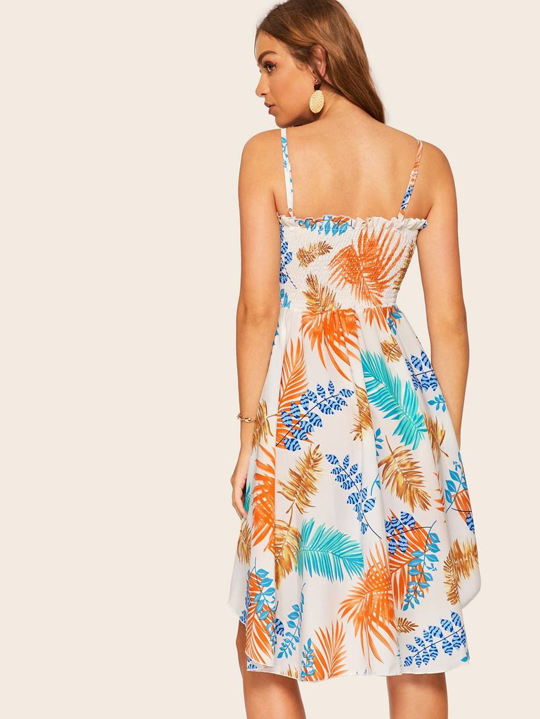 Tropical Print Asymmetric Hem Cami Dress - Multicolor