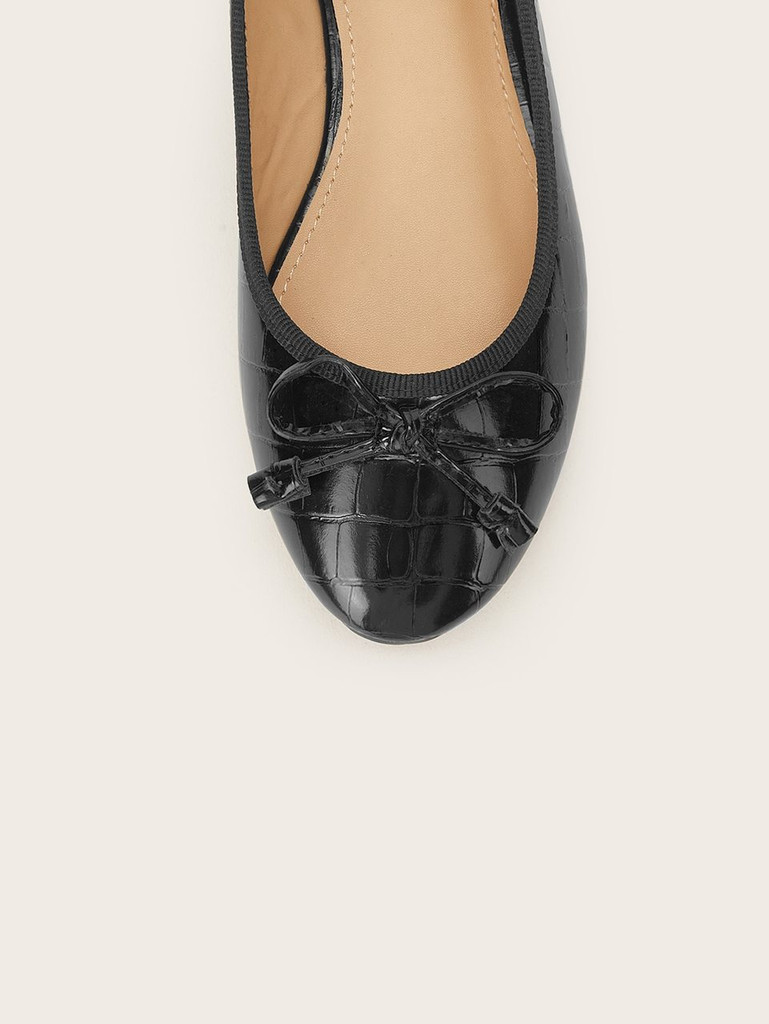 Textured Bow Tie Ballets Flats