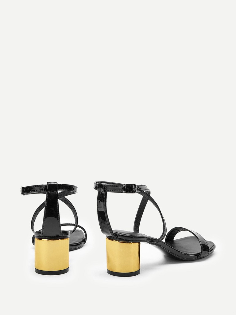 Criss Cross Design Chunky Heels